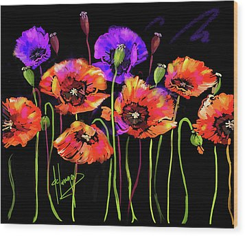 Poppies Wood Print by DC Langer