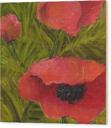 Poppies Diptych B Wood Print by Rita Bentley