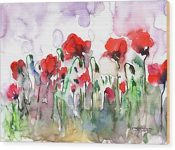 Poppies Wood Print by Faruk Koksal