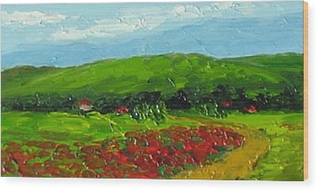 Wood Print featuring the painting Poppies by Fred Wilson