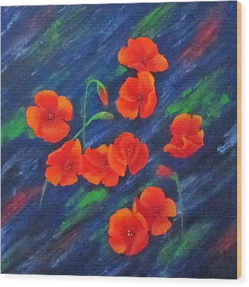 Poppies In Abstract Wood Print by Roseann Gilmore