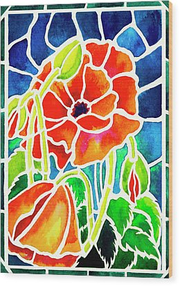 Poppies In Stained Glass Wood Print by Janis Grau