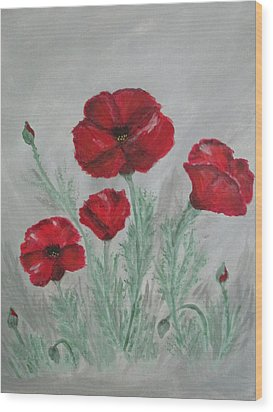 Poppies In The Mist Wood Print by Sharyn Winters