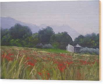 Wood Print featuring the painting Poppies In Tuscany by Chris Hobel