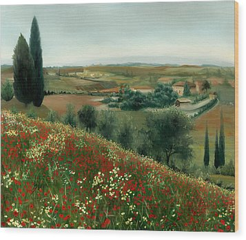 Poppies In Tuscany Wood Print by Leah Wiedemer