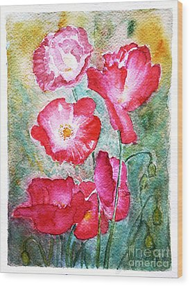 Wood Print featuring the painting Poppies by Jasna Dragun