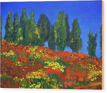 Poppies Landscape Wood Print by Mary Jo Zorad