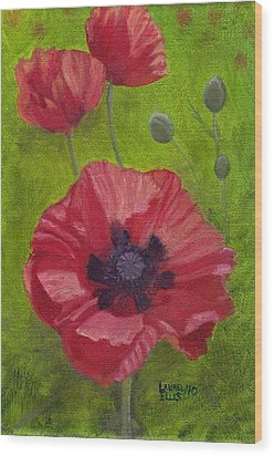 Poppies Wood Print by Laurel Ellis