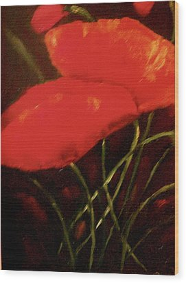 Poppies Wood Print by Marie Hamby