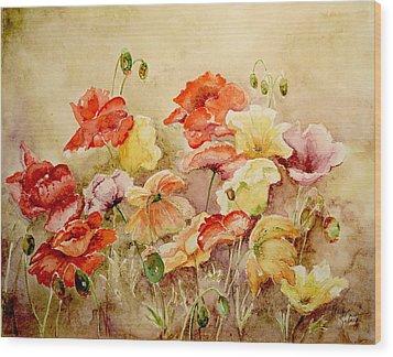 Poppies Wood Print by Marilyn Zalatan