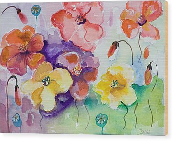Poppies Of Color Wood Print by Delilah  Smith