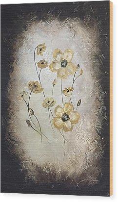Poppies On Black Wood Print