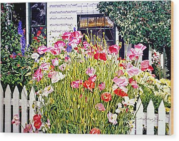 Poppies On Niagara Street Wood Print by David Lloyd Glover