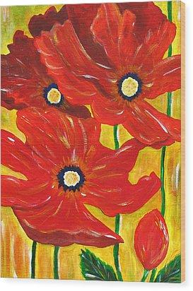 Poppies Painting  Wood Print by Linda Larson