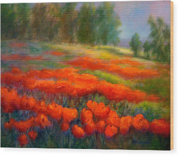 Poppies Wood Print by Patricia Lyle