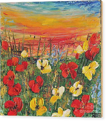 Wood Print featuring the painting Poppies by Teresa Wegrzyn