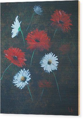 Wood Print featuring the painting Poppin Daisies by Leslie Allen