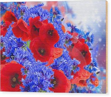 Poppy And Cornflower Flowers Wood Print