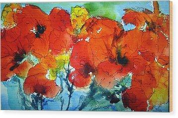 Poppy Bouquet Wood Print by Anne Duke
