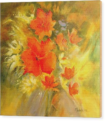 Poppy Bouquet  Wood Print by Madeleine Holzberg