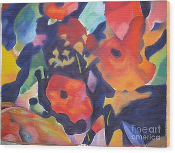 Wood Print featuring the pastel Poppy Bouquet by Terri Thompson