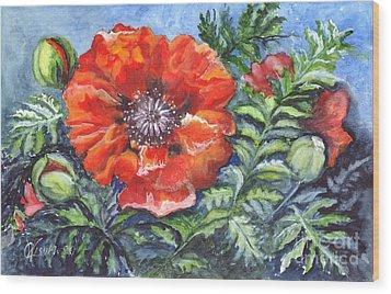 Poppy Brilliance Wood Print by Carol Wisniewski