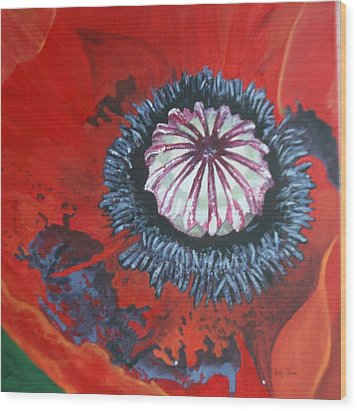 Wood Print featuring the painting Poppy Centre by Betty-Anne McDonald