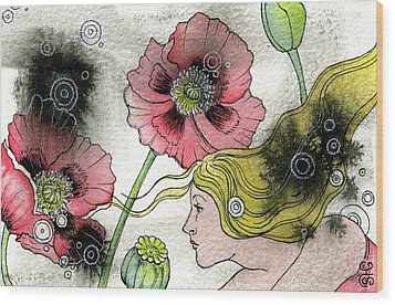 Poppy Dream Wood Print by Sheri Howe