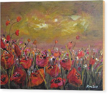 Poppy Field Wood Print by Alina Vidulescu