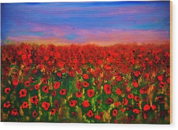 Wood Print featuring the painting Poppy Field by Evelina Popilian
