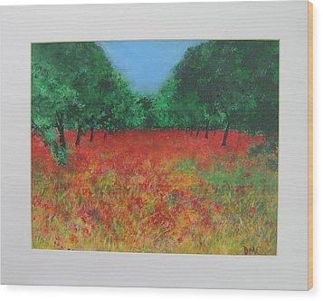 Poppy Field In Ibiza Wood Print by Lizzy Forrester