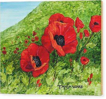 Poppy Field Wood Print by Tanja Ware