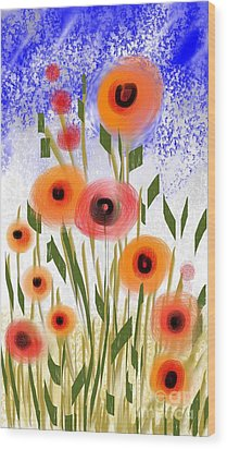 Wood Print featuring the digital art Poppy Garden by Elaine Lanoue