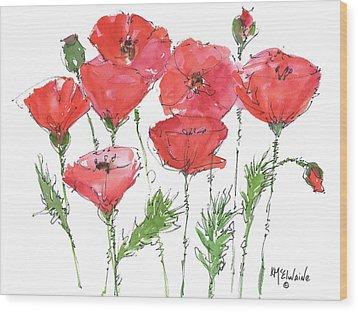Poppy Garden Wood Print by Kathleen McElwaine