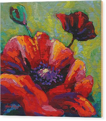 Poppy I Wood Print by Marion Rose