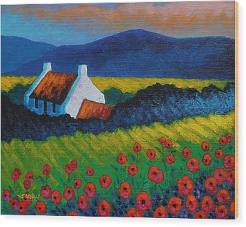 Poppy Meadow Wood Print by John  Nolan