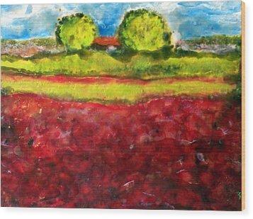 Poppy Meadow Wood Print by Karla Phlypo-Price