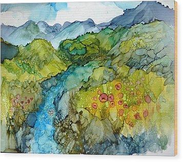 Poppy Mountains Wood Print
