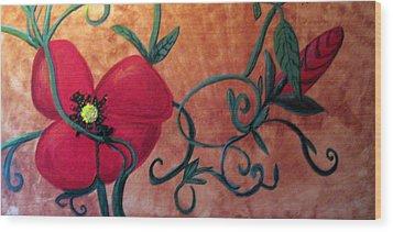 Poppy One Wood Print by Rebecca Merola