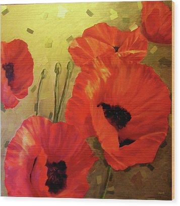 Poppy Power Wood Print by Jennifer  Blenkinsopp