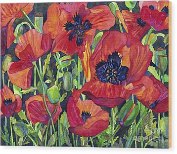 Poppy Profusion Wood Print by Barb Pearson