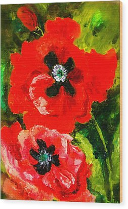 Poppy Season Wood Print by Marie Hamby