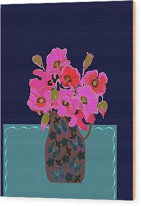 Wood Print featuring the painting Poppy Stille by Linde Townsend