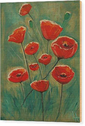 Wood Print featuring the painting Poppy Surprise by Leslie Allen