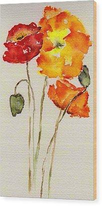 Poppy Trio Wood Print by Anne Duke