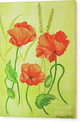 Wood Print featuring the painting Poppy Trio by Inese Poga