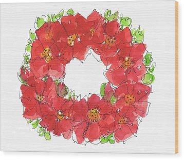 Poppy Wreath Wood Print