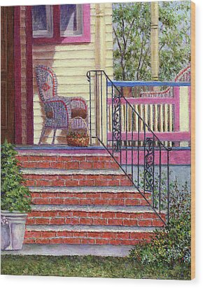Porch With Basket Wood Print by Susan Savad