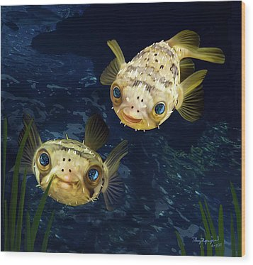Porcupine Puffer  Wood Print by Thanh Thuy Nguyen