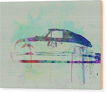 Porsche 356 Watercolor Wood Print by Naxart Studio